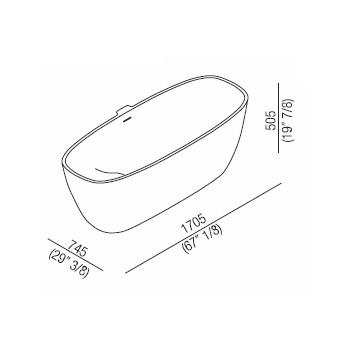 Agape Ванна из искусственного камня Normal 170x75x50.5