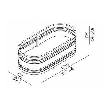 Agape Ванна стальная Vieques 171.1x73.6x62.5