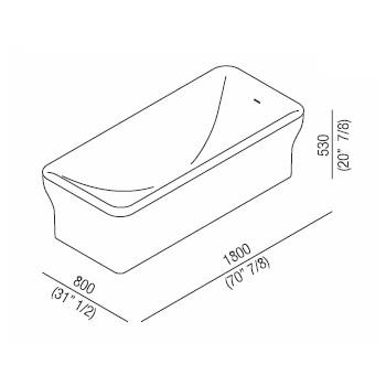 Agape Ванна из искусственного камня Novecento 180x80x53