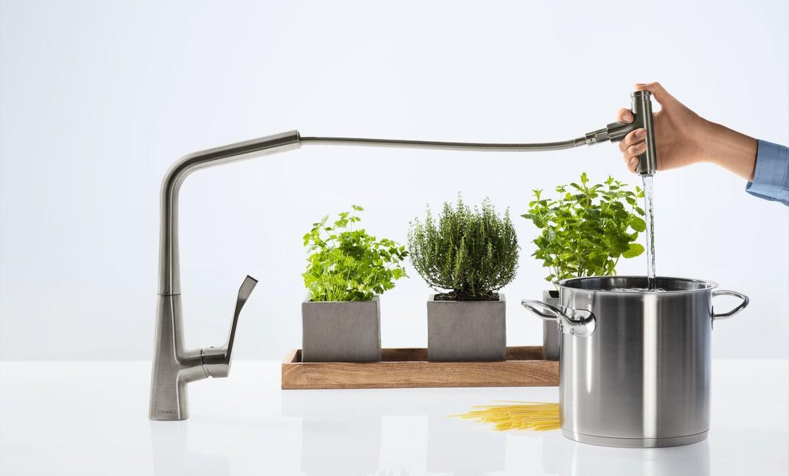 Hansgrohe Metris Select Смеситель для кухни 320, однорычажный, с выдвижным изливом