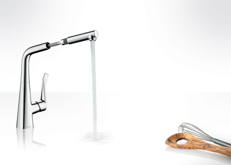 Hansgrohe Metris Смеситель для кухни 320, однорычажный, с выдвижным душем, ½´