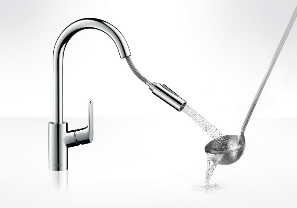 Hansgrohe Focus Смеситель для кухни 240, однорычажный, с выдвижным душем, ½´