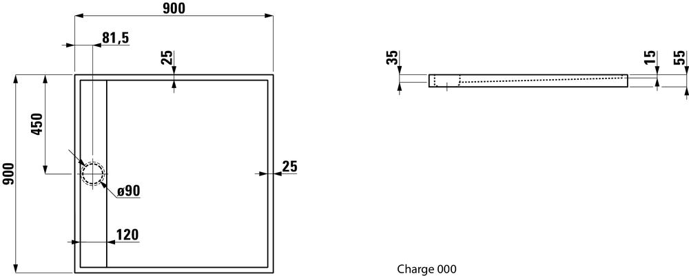 Laufen Душевой поддон, прямоугольный, литьевой мрамор 211331