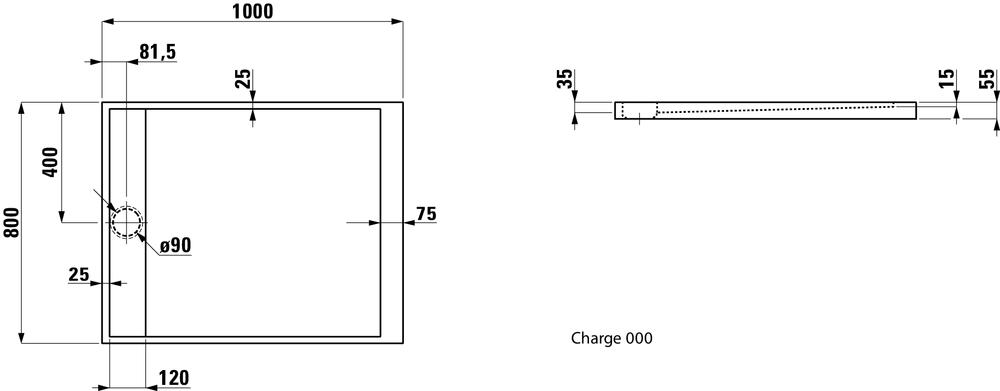 Laufen Душевой поддон, прямоугольный, литьевой мрамор 212331