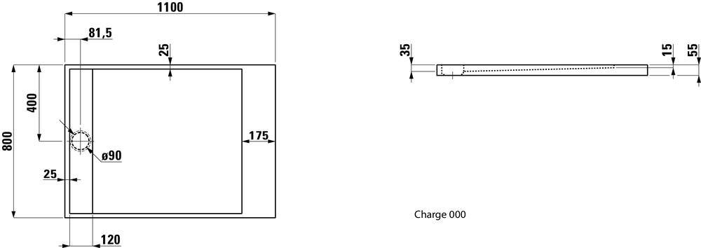 Laufen Душевой поддон, прямоугольный, литьевой мрамор 212332