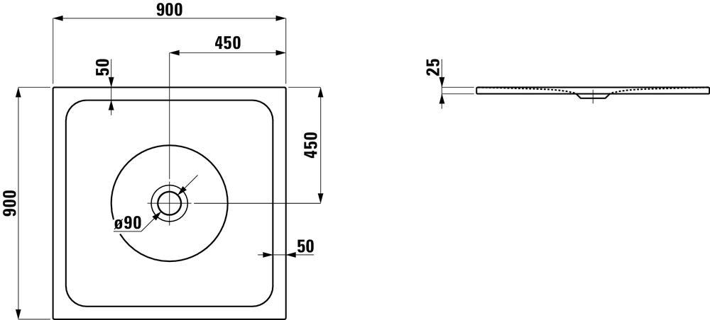 Laufen Стальной душевой поддон, сталь/эмаль 3,5мм 215071