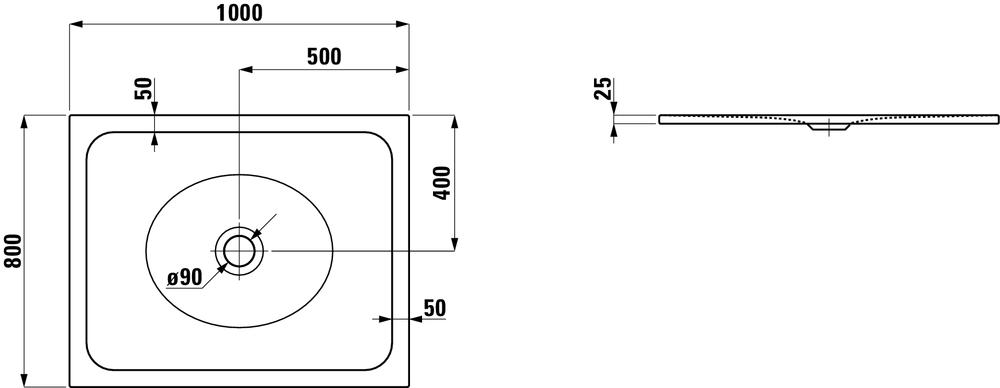 Laufen Стальной душевой поддон, сталь/эмаль 3,5мм 215073