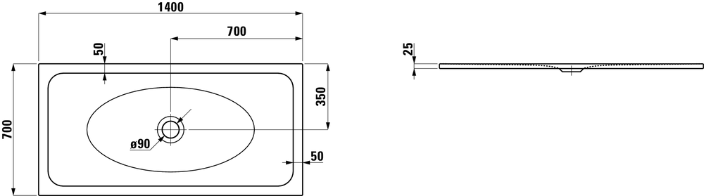Laufen Стальной душевой поддон, сталь/эмаль 3,5мм 215075