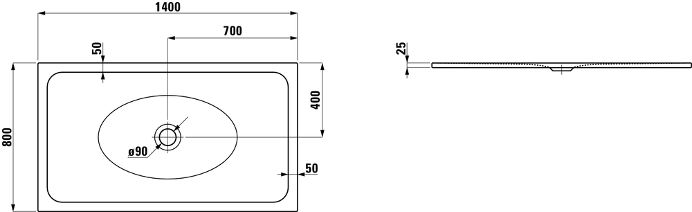 Laufen Стальной душевой поддон, сталь/эмаль 3,5мм 215076
