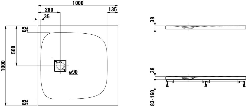 Laufen Прямоугольный душевой поддон 216441