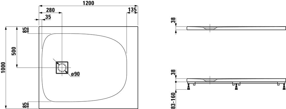 Laufen Прямоугольный душевой поддон 216442