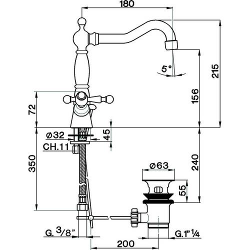 Cisal Arcana America Смеситель для раковины на одно отверстие, с донным клапаном, хром