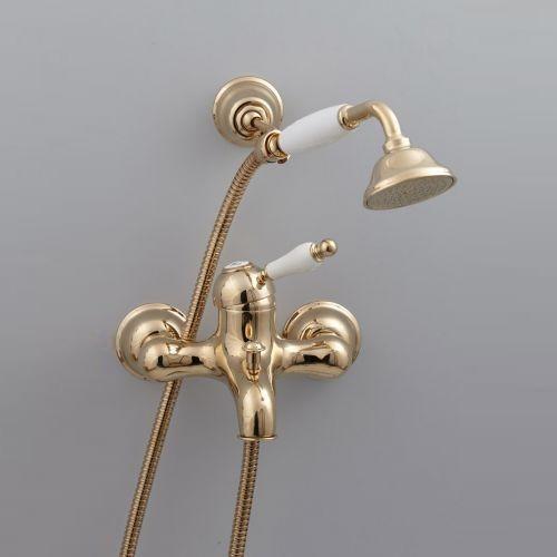 Cisal Arcana Empress Смеситель для ванны и душа с душевым комплектом, золото/керамика