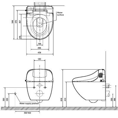 TOTO Giovannoni Электронный унитаз подвесной 543х436х543 мм