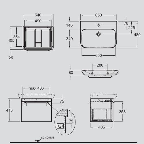 Keramag мебель для ванной комнаты 650х410х480 мм с подсветкой myDay