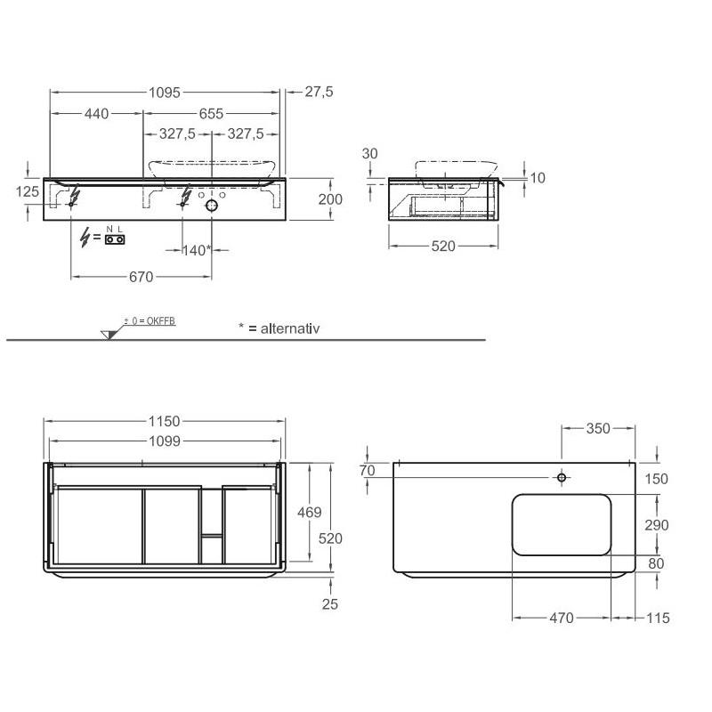 Keramag мебель для ванной комнаты 1150х200х520 мм с подсветкой myDay