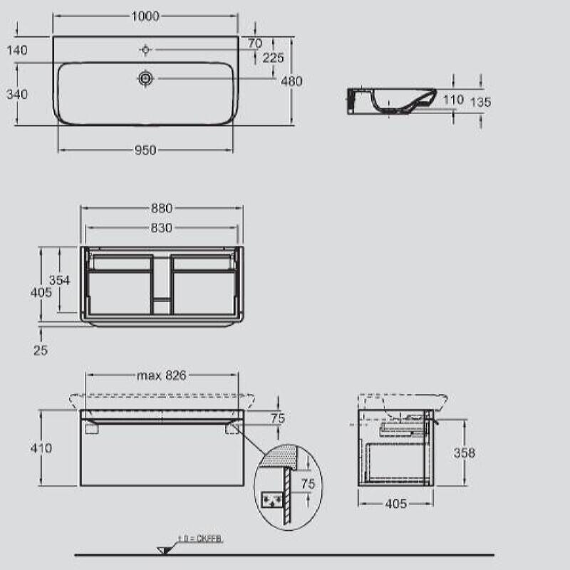 Keramag мебель для ванной комнаты 1000х410х480 мм с подсветкой myDay