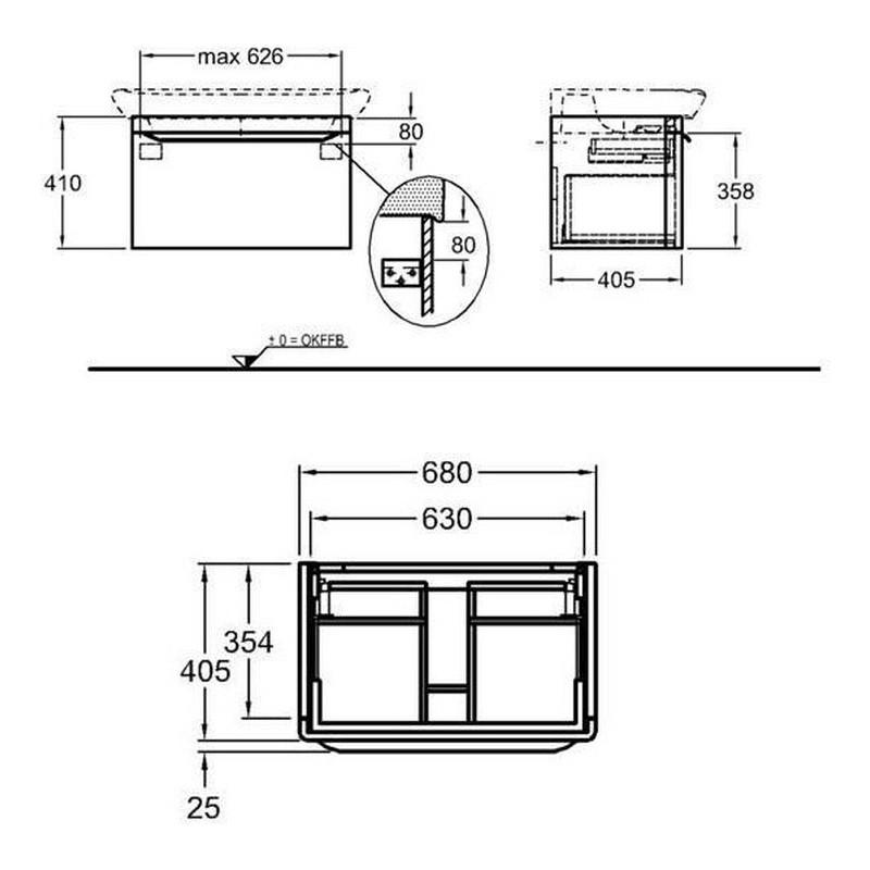 Keramag мебель для ванной комнаты 800х410х480 мм с подсветкой myDay