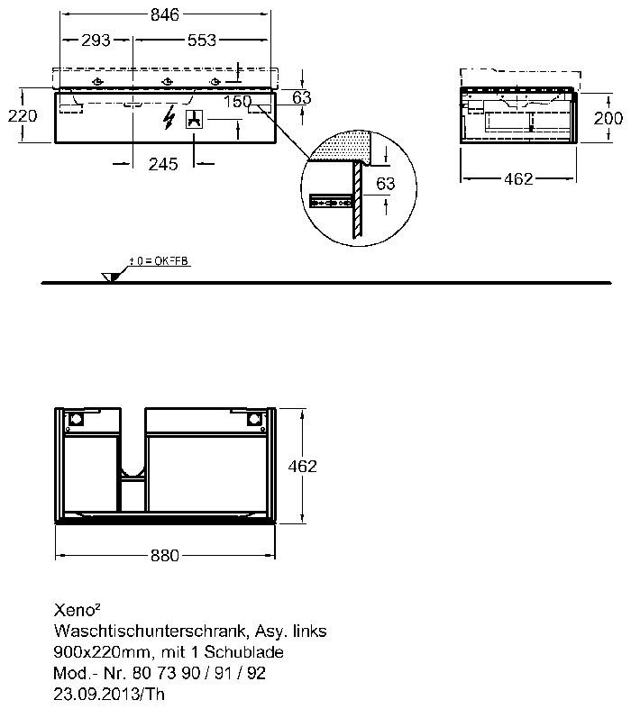 Keramag мебель для ванной комнаты 900х270х480 мм с подсветкой (вариант левый/правый) Xeno²