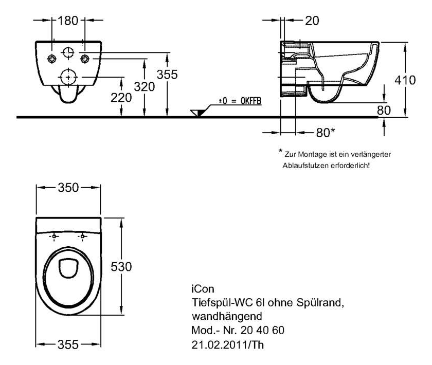 Keramag iCon безободковый унитаз подвесной 350x530x330 мм