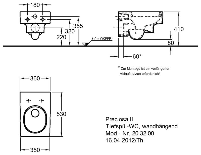 Keramag  Preciosa II  унитаз подвесной 360x530x330 мм