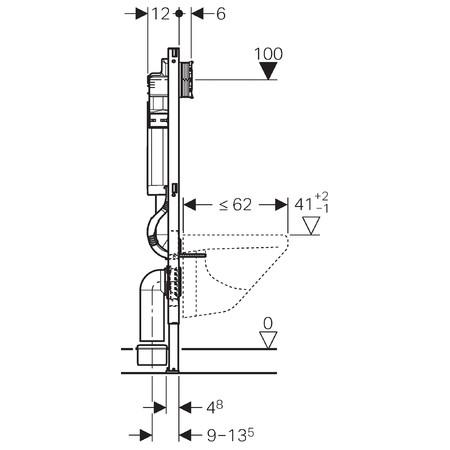 Geberit Duofix Монтажный элемент для подвесного унитаза, 112 см, со смывным бачком скрытого монтажа Sigma 12 см