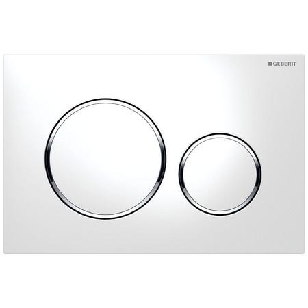 Geberit Sigma20 Смывная клавиша, двойной смыв,  Белые Декоративное кольцо: Глянцевый хром