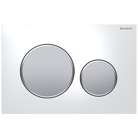 Geberit Sigma20 Смывная клавиша, двойной смыв,  Белые Декоративное кольцо и клавиши матовый хром