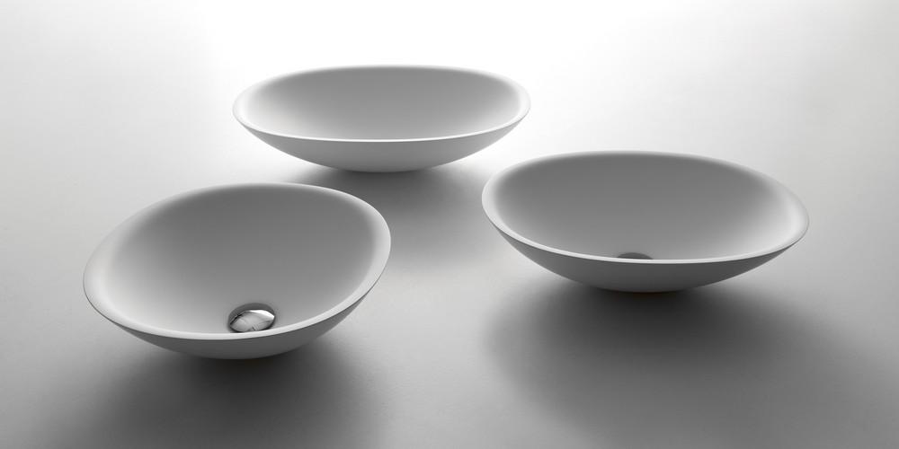 Servo Аntonio Lupi раковина круглая из материала Flumood или Ceramilux, встраиваемая в столешницу, в комплекте с донным клапаном и фитингом для сифона 45х15 см