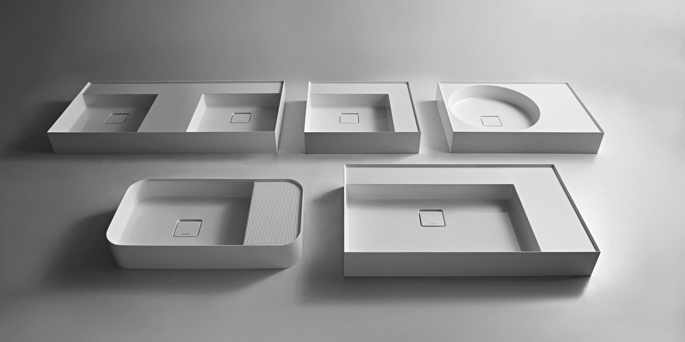 Graffio Аntonio Lupi раковина прямоугольная с установкой на столешницу из материала Ceramilux с полкой, в комплекте с донным клапаном и фитингом для сифона 72х38х12 см