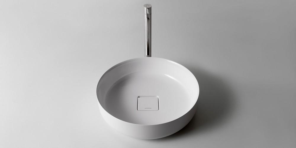 Bolo Аntonio Lupi раковина круглая из материала Flumood или Ceramilux, для установки на столешницу, в комплекте с донным клапаном и фитингом для сифона 45х12,5 см