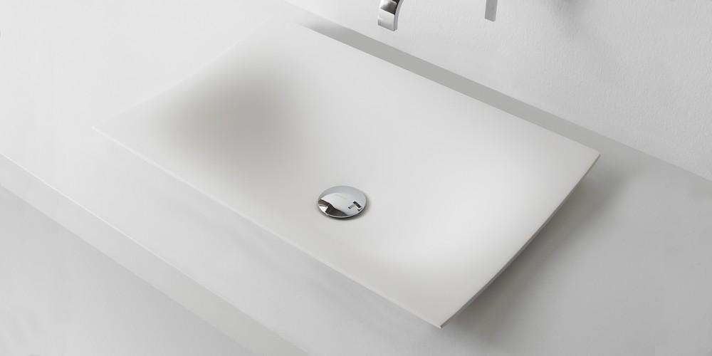 Foglio Аntonio Lupi раковина прямоугольная из материала Flumood или Ceramilux, встраиваемая в столешницу, в комплекте с донным клапаном и фитингом для сифона 63х40х14 см