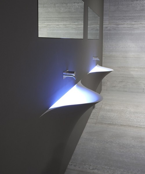 Silenzio Аntonio Lupi раковина из материала Corian, встраиваемая в стену , со светодиодной подсветкой