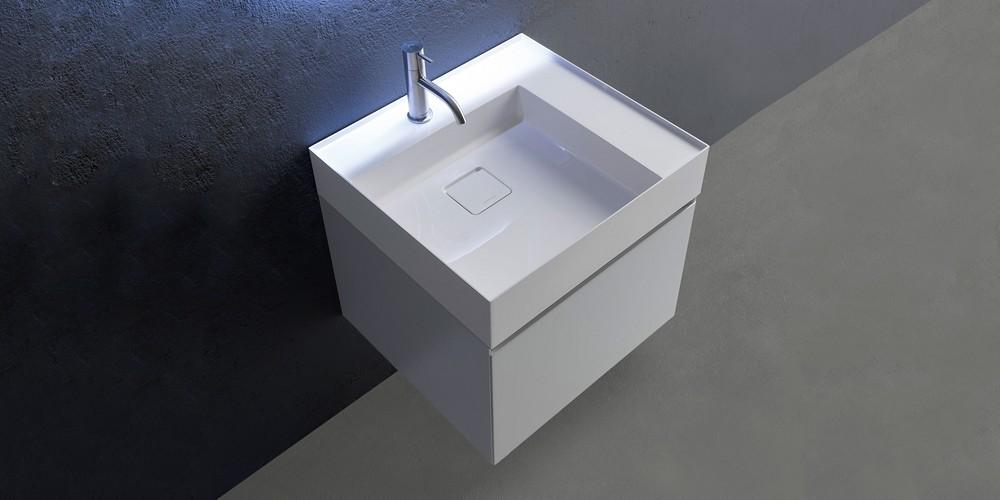 Graffio Аntonio Lupi раковина прямоугольная с установкой на столешницу или навесная из материала Ceramilux с полкой, в комплекте с донным клапаном и фитингом для сифона 54х50х12 см