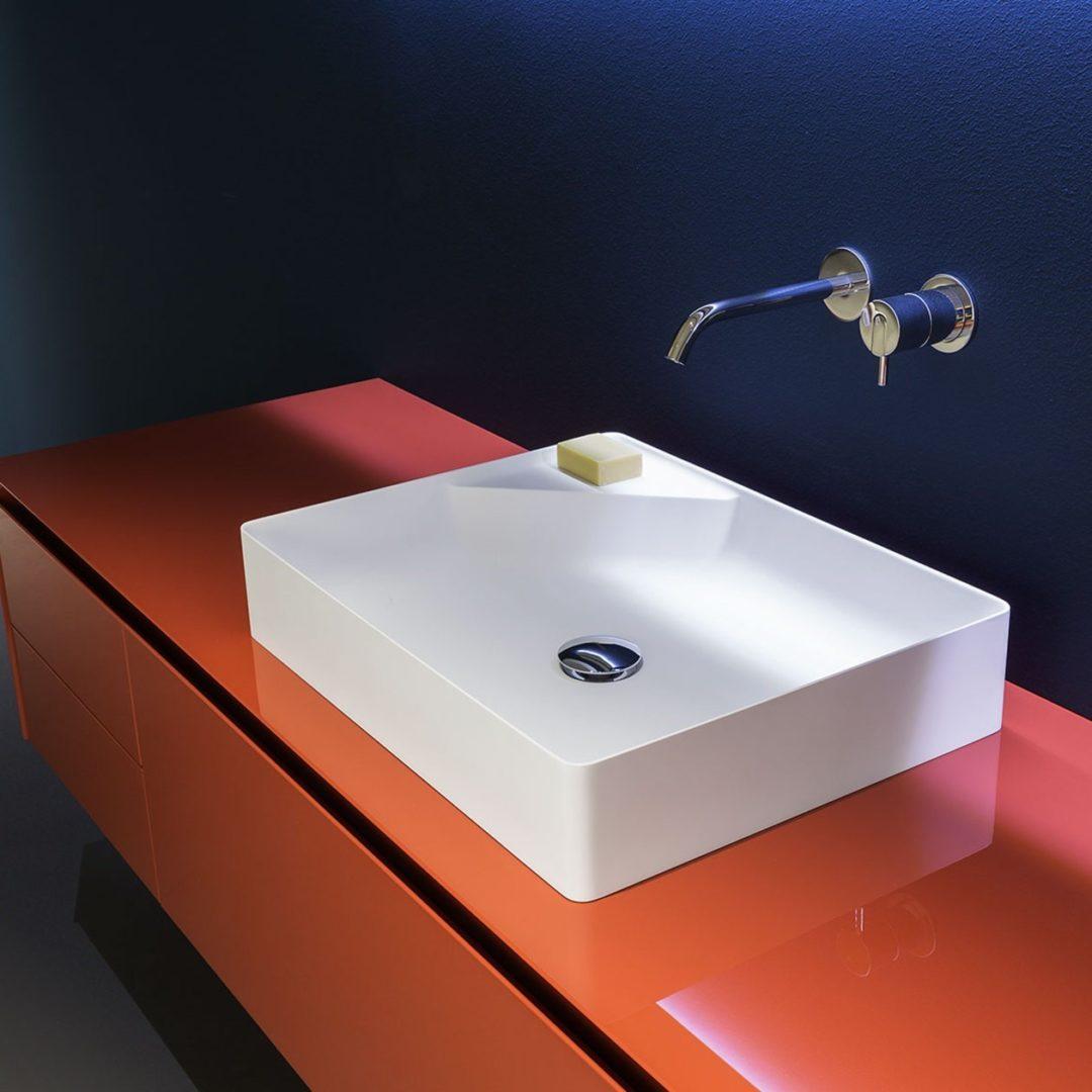 Simplo 54 Аntonio Lupi Раковина прямоугольная из материала Flumood, для установки на столешницу 42x54x11 см