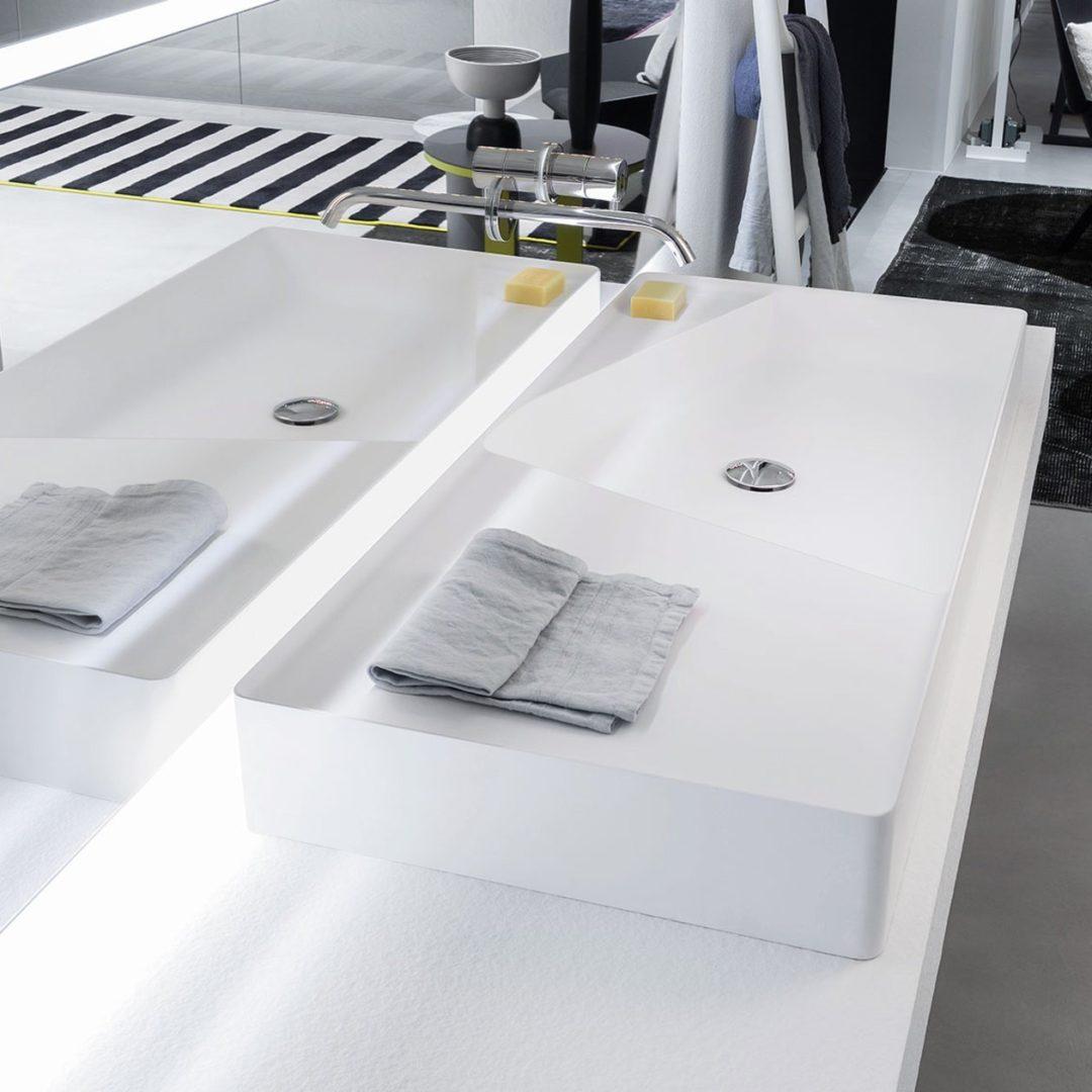 Simplo108 Аntonio Lupi Раковина прямоугольная из материала Flumood, для установки на столешницу 47x108x11 см