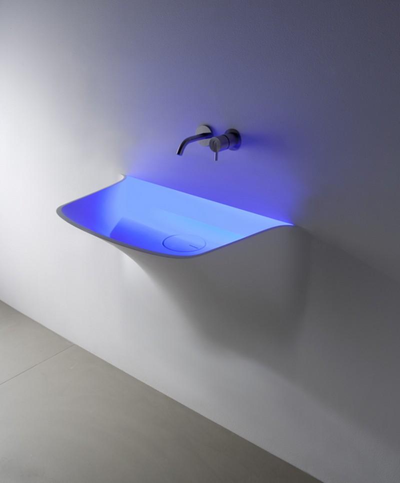 Soffio Аntonio Lupi раковина из материала Corian, встраиваемая в стену , со светодиодной подсветкой 77x50x86 см