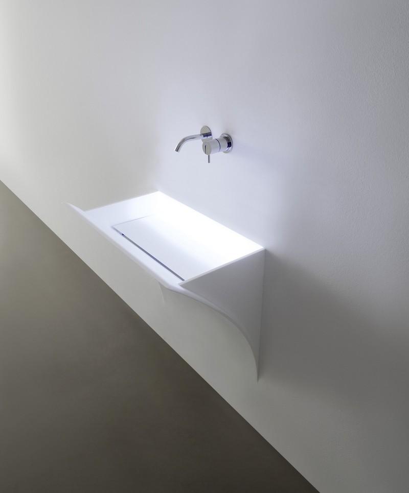 Strappo Antonio Lupi раковина из материала Corian, встраиваемая в стену, со светодиодной подсветкой 79x48x83 см