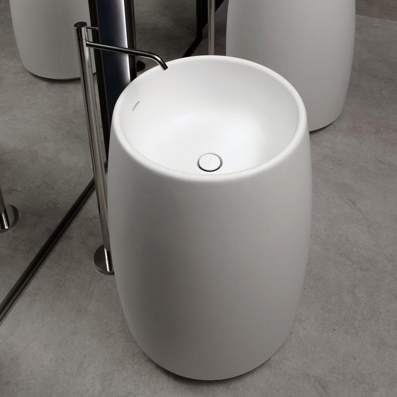 Barrel Аntonio Lupi раковина из материала Cristalplant, со сливом в пол