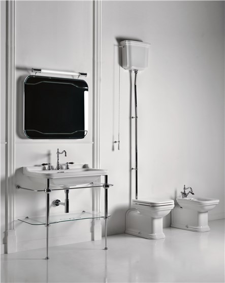 Waldorf Kerasan Унитаз приставной с высоким бачком с сидением Soft&Close, петли хром 65смx37смx42см