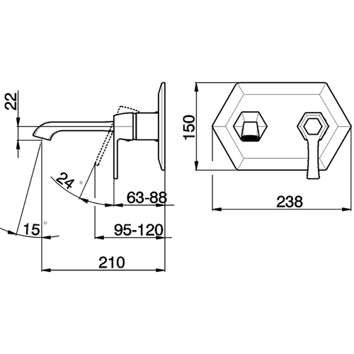 Cisal Cherie Смеситель для раковины, настенного монтажа, излив 210 мм, хром